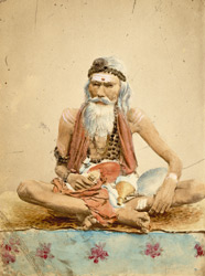 [Portrait of] A Sumuyasi [sanyasi] making poojah or worshipping.